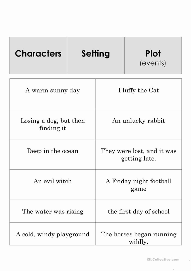 Elements Of Fiction Worksheet Lovely Story Element Set Worksheet Free Esl Printable