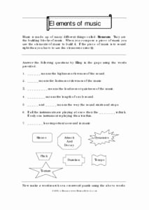 Elements Of Music Worksheet Beautiful Elements Of Music 5th 8th Grade Worksheet