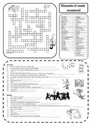 Elements Of Music Worksheet Fresh Elements Of Music Crossword Esl Worksheet by Marta V
