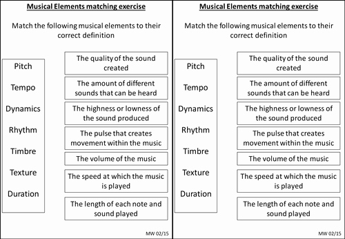 Elements Of Music Worksheet Lovely Elements Of Music Matching Exercise Graphical Score