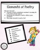 Elements Of Poetry Worksheet Awesome Elements Poetry Worksheet