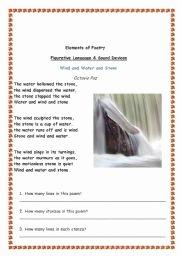 Elements Of Poetry Worksheet Beautiful Elements Of Poetry Esl Worksheet by Wisam
