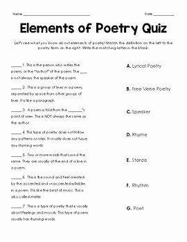 Elements Of Poetry Worksheet Beautiful Elements Of Poetry Quiz by No Frills Fourth