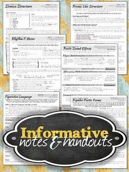 Elements Of Poetry Worksheet Beautiful Structural Elements Of Poetry Unit Notes & Worksheets by