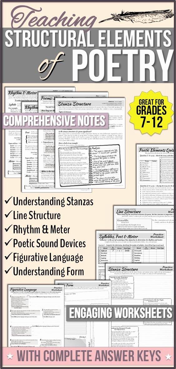 Elements Of Poetry Worksheet Elegant Structural Elements Of Poetry Unit Notes & Worksheets