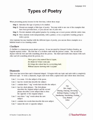 Elements Of Poetry Worksheet Fresh Poetry Lessons & Activities Gallery Of Worksheets Grades