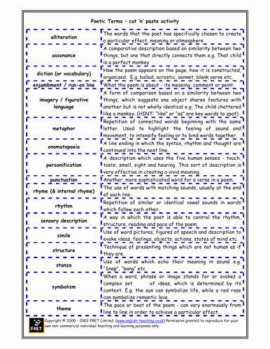 Elements Of Poetry Worksheet Lovely Poetic Terms Cut N Paste Activity and Glossary by