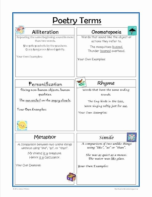 Elements Of Poetry Worksheet Lovely Poetry Terms Worksheet Great for Practice and Review