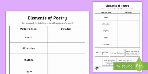 Elements Of Poetry Worksheet Luxury Cfe Second Level Elements Of Poetry Worksheet Worksheet