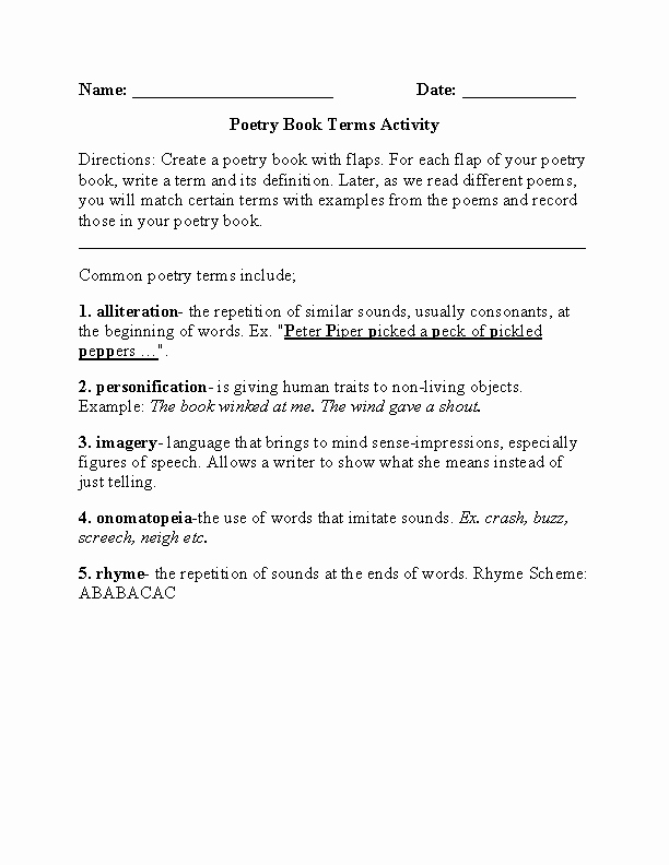 Elements Of Poetry Worksheet Luxury Englishlinx