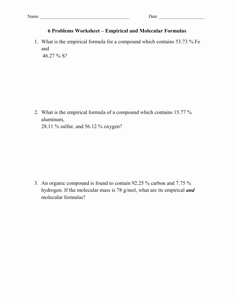 Empirical and Molecular formulas Worksheet Beautiful 6 Problems Worksheet – Empirical and Molecular formulas