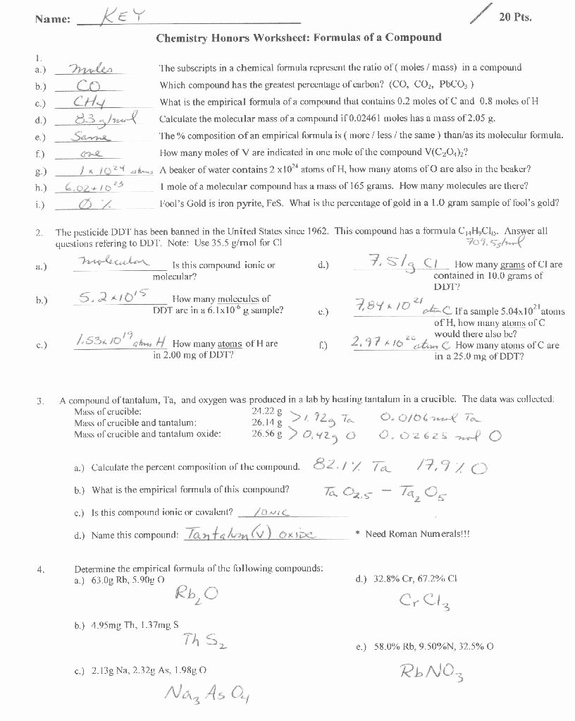 Empirical and Molecular formulas Worksheet Fresh Empirical formula Worksheets Answer Key