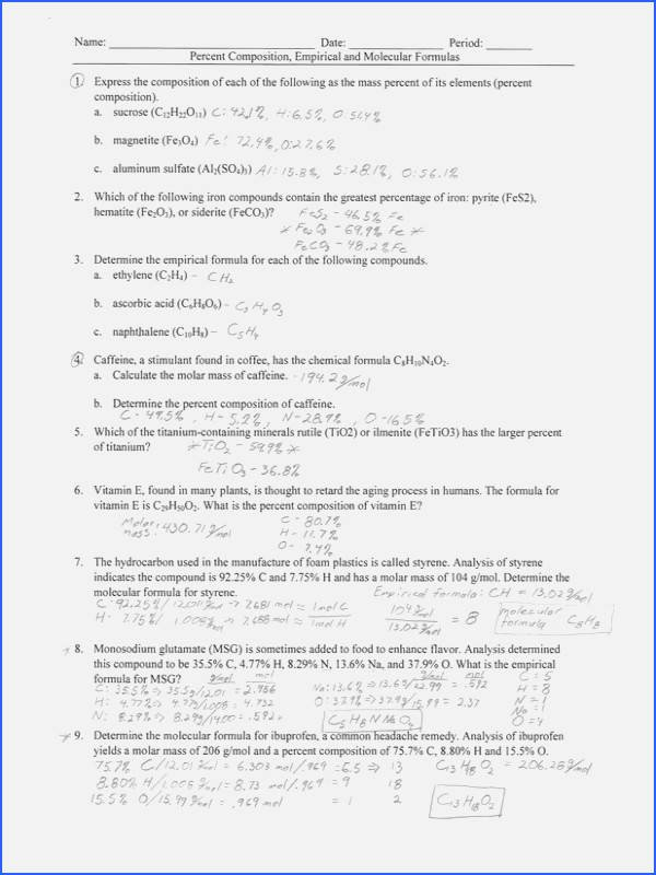 Empirical and Molecular formulas Worksheet Inspirational Empirical and Molecular formula Worksheet Answers