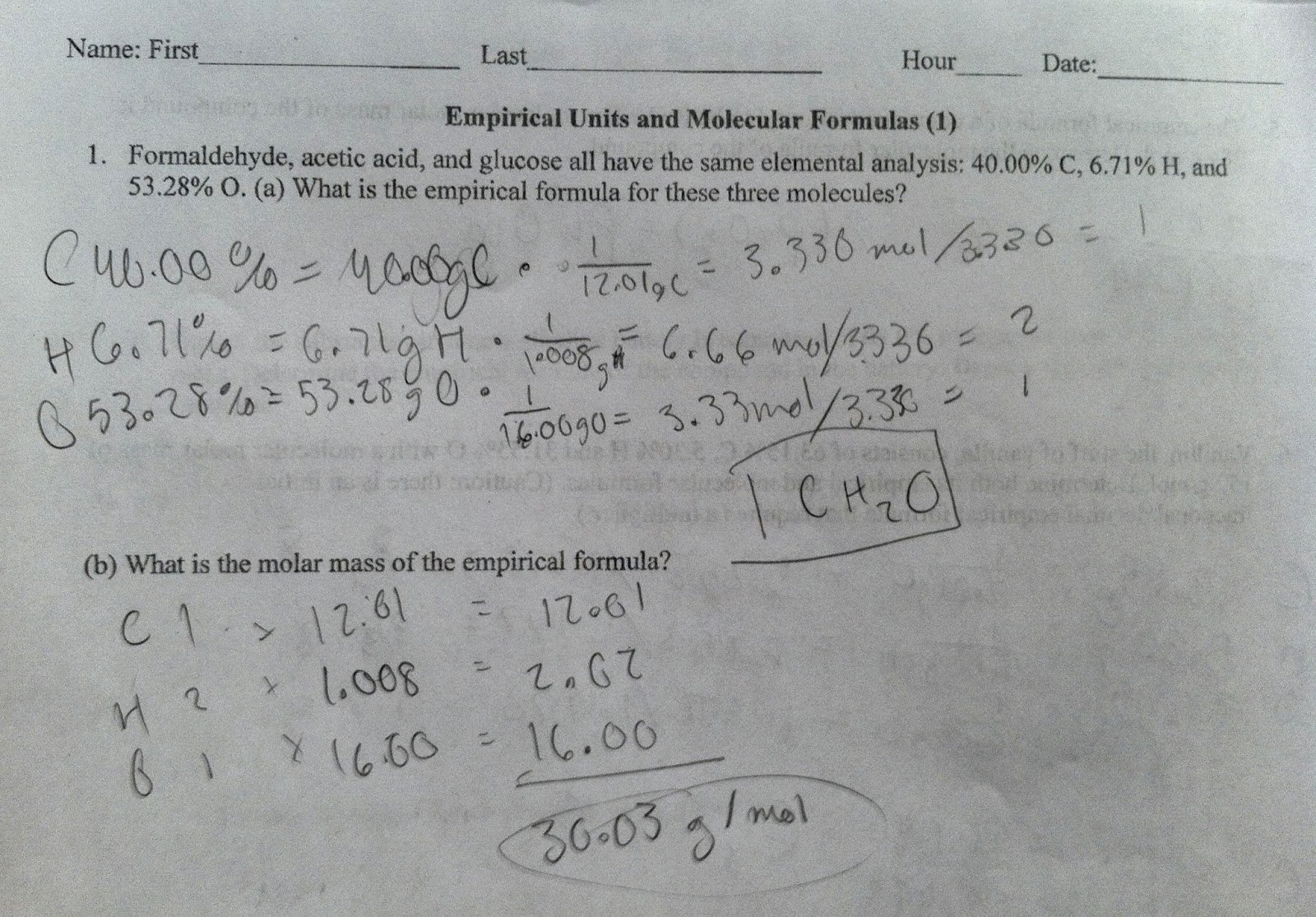 Empirical and Molecular formulas Worksheet Luxury Ap Chem