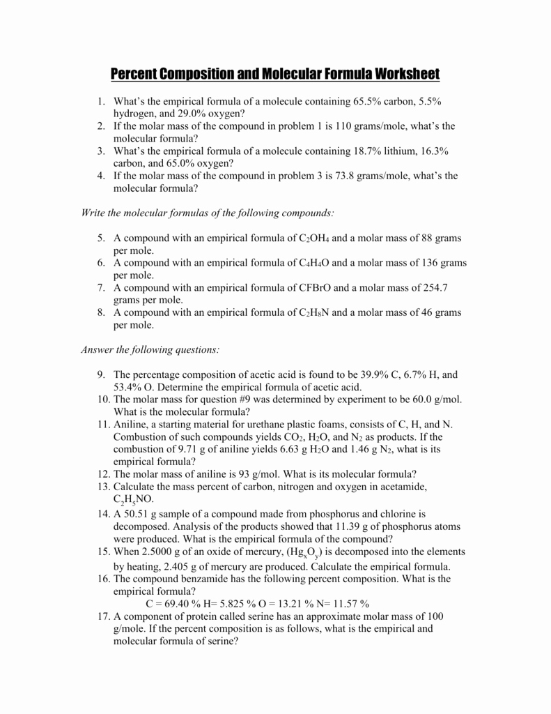 Empirical and Molecular formulas Worksheet Unique Percent Position and Molecular formula Worksheet Key