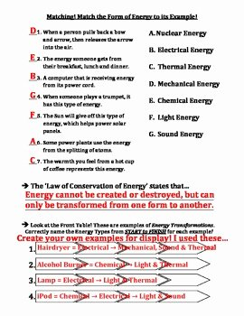 Energy Transformation Worksheet Answer Key Fresh Test forms Of Energy & Energy Transformations by Travis