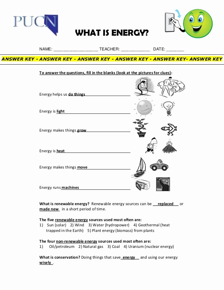 Energy Transformation Worksheet Answer Key Inspirational Energy Renewables and Conservation Elementary School