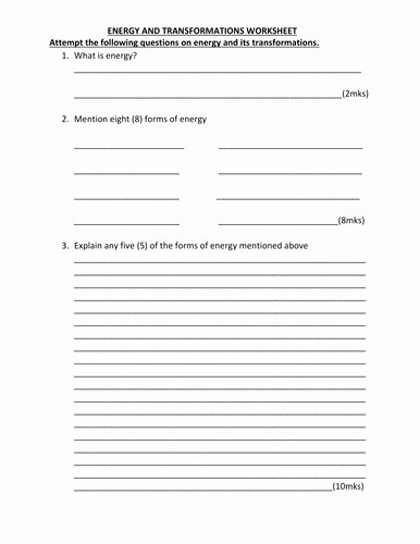 Energy Transformation Worksheet Answer Key Lovely Energy Transformation Worksheet