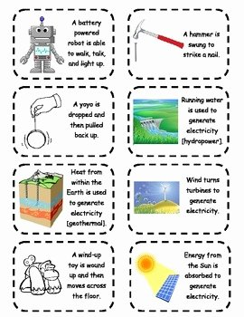 Energy Transformation Worksheet Answers Fresh Energy Transformation Cards by Science Works by Shannon