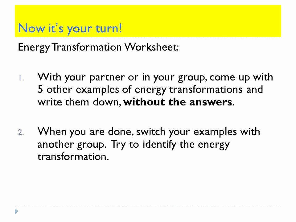 Energy Transformation Worksheet Answers Luxury Energy Transformation Worksheet