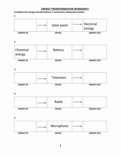 Energy Transformation Worksheet Answers Luxury Energy Transformations Worksheet
