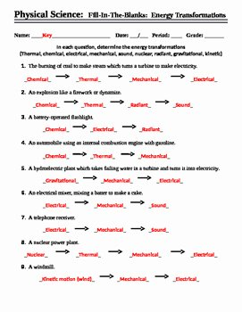 Energy Transformation Worksheet Middle School Beautiful Energy Transformations Worksheet Fill In the Blank by