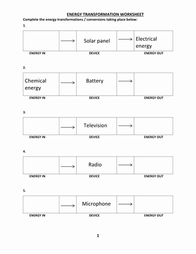 Energy Transformation Worksheet Middle School Fresh Energy Transformation Worksheet with Answer by