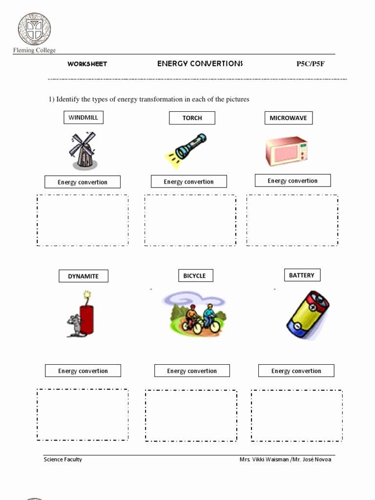 Energy Transformation Worksheet Middle School Luxury Energy Transformation Worksheet