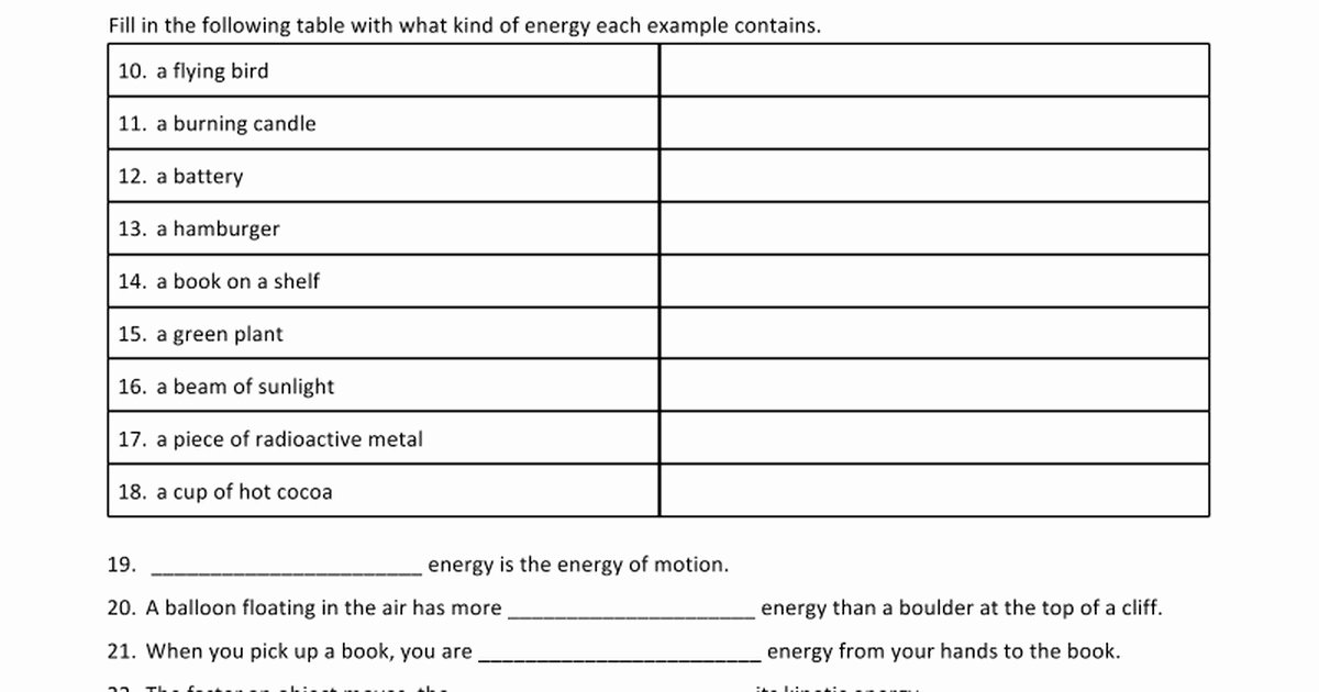 Energy Transformation Worksheet Middle School Unique Energy Transformation Worksheet
