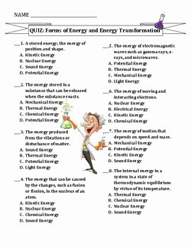 Energy Transformation Worksheet Middle School Unique Test forms Of Energy & Energy Transformations by Travis