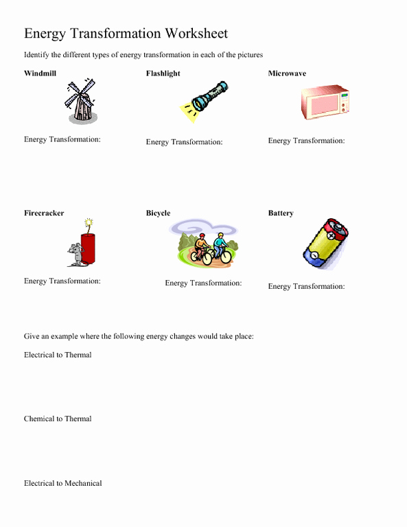 Energy Transformation Worksheet Pdf Inspirational Energy Transformation Worksheet Worksheet for 5th 8th