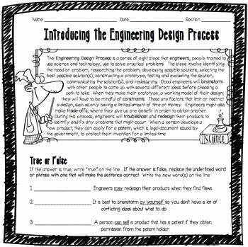 Engineering Design Process Worksheet Fresh Introducing the Engineering Design Process Worksheet