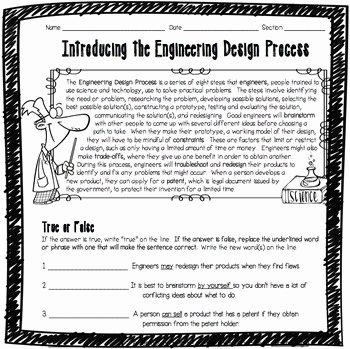 Engineering Design Process Worksheet Lovely Introducing the Engineering Design Process Worksheet by