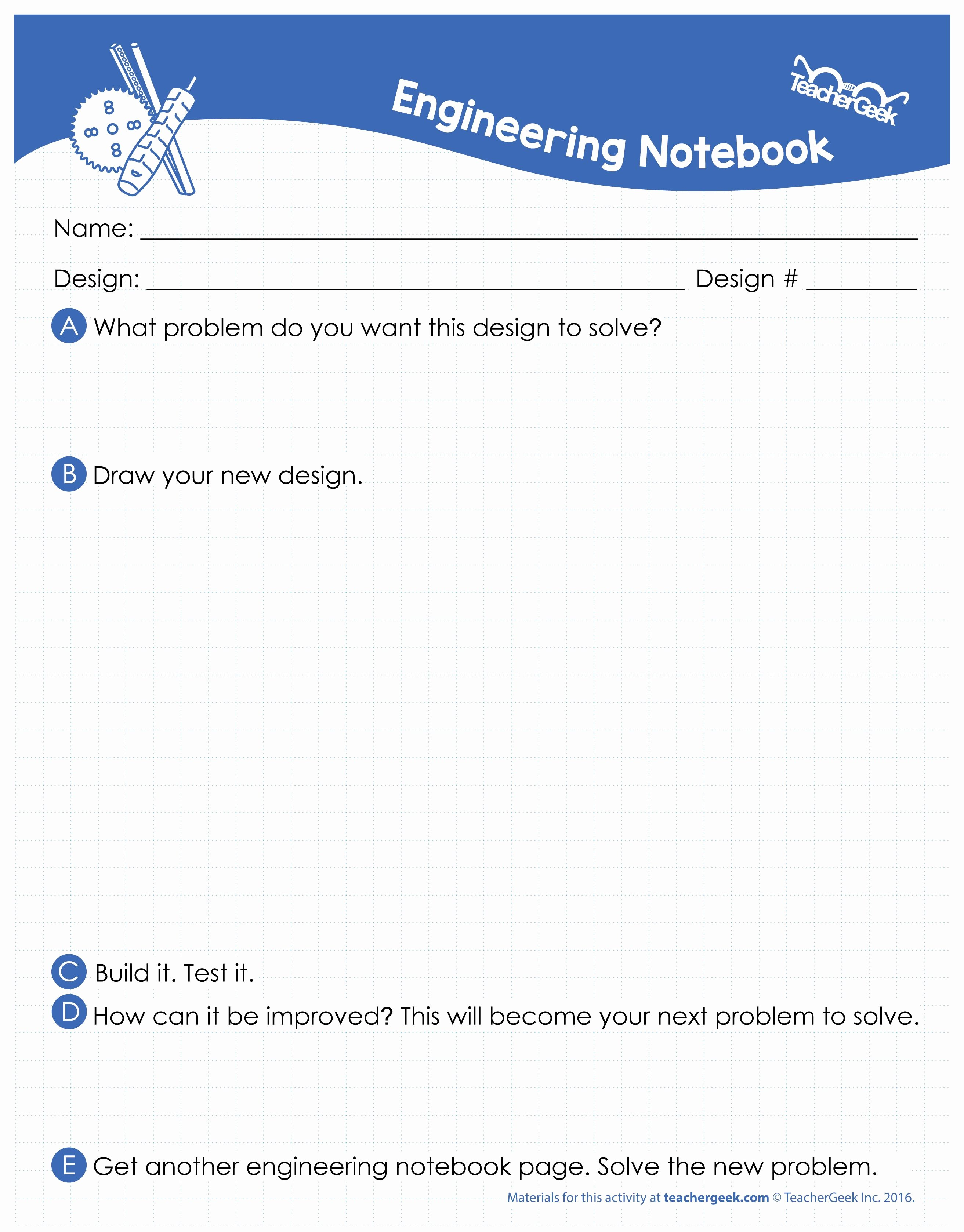 Engineering Design Process Worksheet New Free Stem Steam Maker Movement Document Download