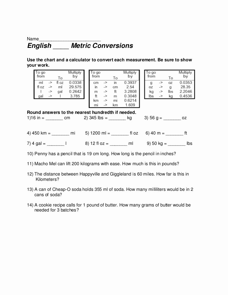 English to Metric Conversion Worksheet Awesome Biology Metric System