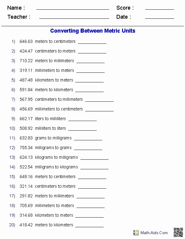 English to Metric Conversion Worksheet Elegant Metric Conversion Quiz Worksheets