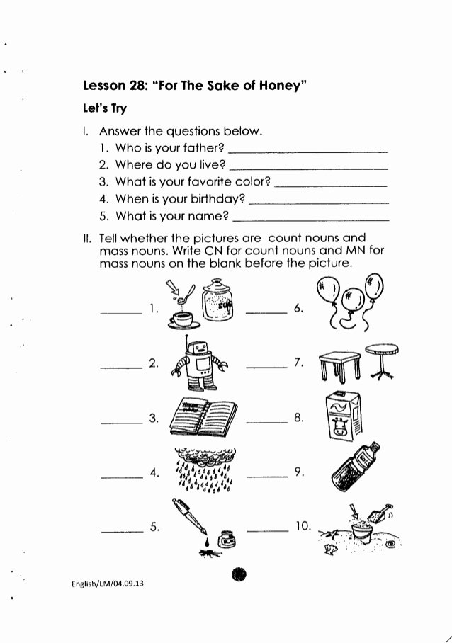 English Worksheet for Grade 2 Best Of K to 12 Grade 2 Learning Material In English