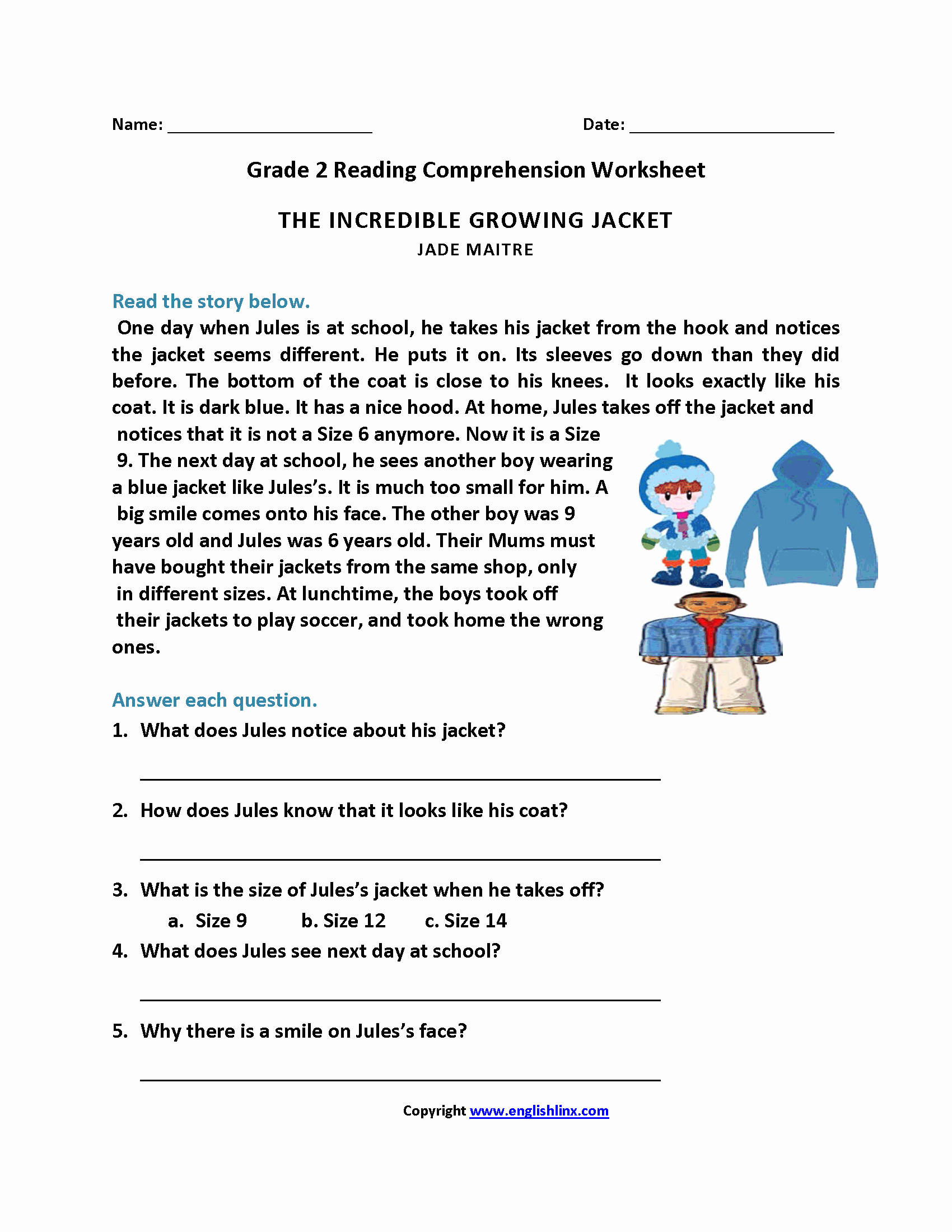 English Worksheet for Grade 2 New Reading Worksheets