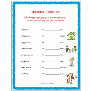 English Worksheet for Grade 2 Unique English Opposites Prefix Un Worksheet 1 Grade 2 Estudynotes