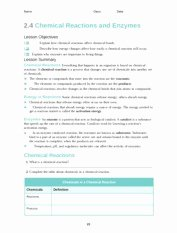 Enzyme Reactions Worksheet Answer Key New Chemistry Of Life Packet 1 Answer Key 1 the Chemistry