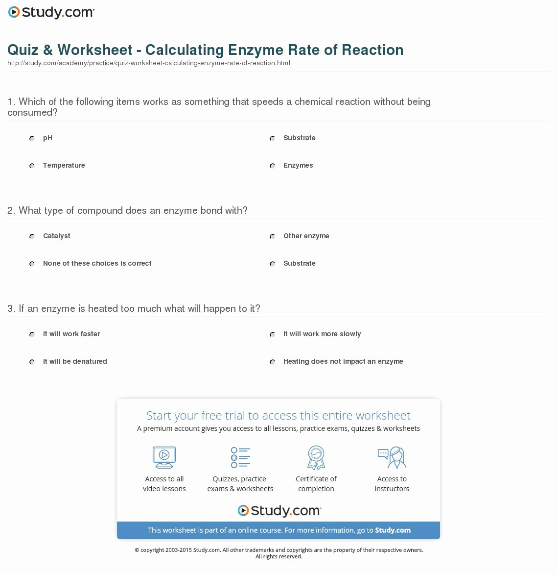 Enzyme Reactions Worksheet Answers Best Of Quiz & Worksheet Calculating Enzyme Rate Of Reaction