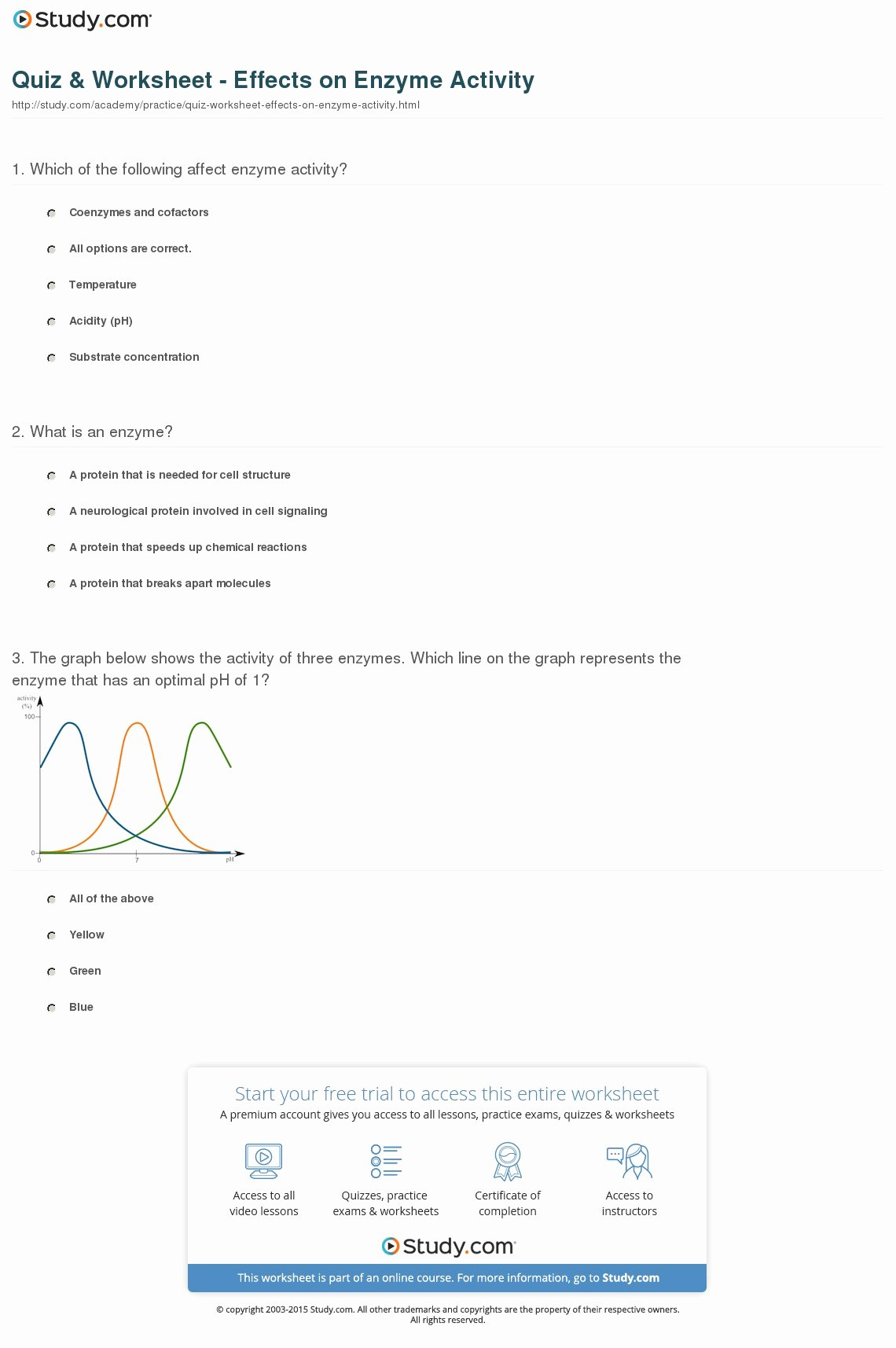 Enzyme Reactions Worksheet Answers Best Of Quiz & Worksheet Effects On Enzyme Activity