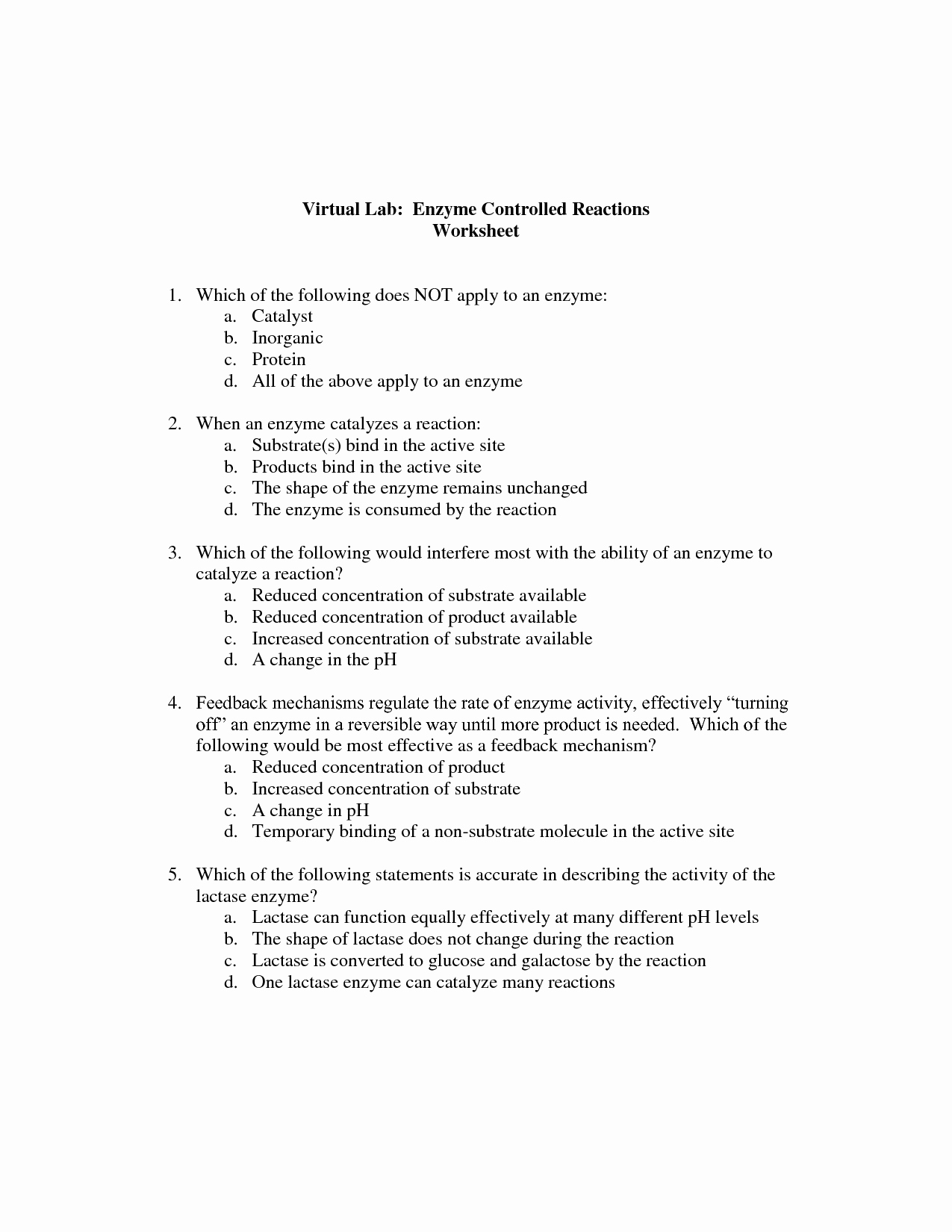 Enzyme Reactions Worksheet Answers Luxury 12 Best Of Enzyme Diagram Worksheets Virtual Lab