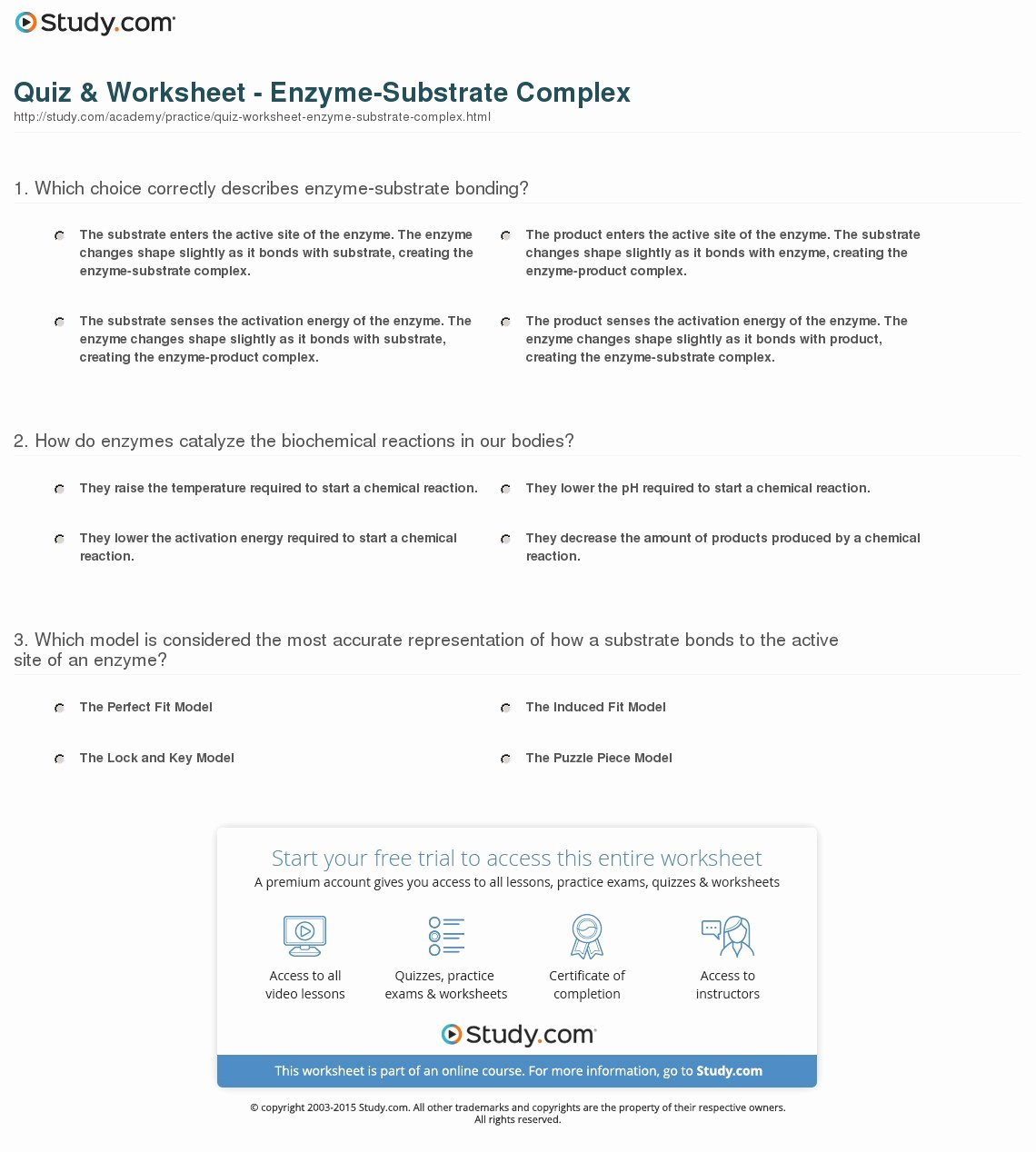 Enzyme Reactions Worksheet Answers New Quiz & Worksheet Enzyme Substrate Plex