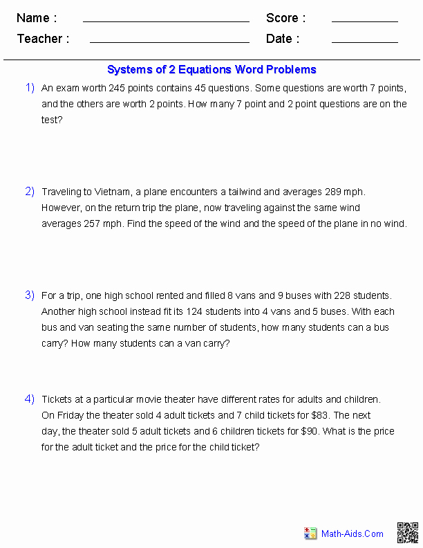 Equation Word Problems Worksheet Beautiful Algebra 2 Worksheets