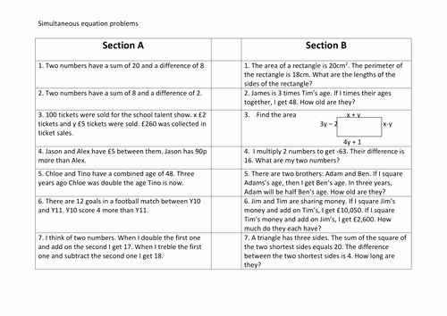 Equation Word Problems Worksheet Inspirational Worded Simultaneous Equations Problems by ascj20