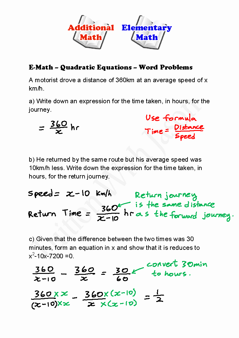 Equation Word Problems Worksheet Unique E Math Quadratic Equations Word Problems