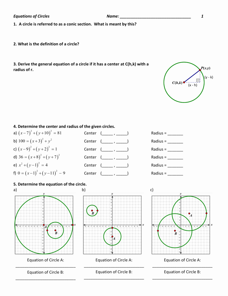 Equations Of Circles Worksheet Best Of Equations Of Circles Name G Gpe A 1 Worksheet 1