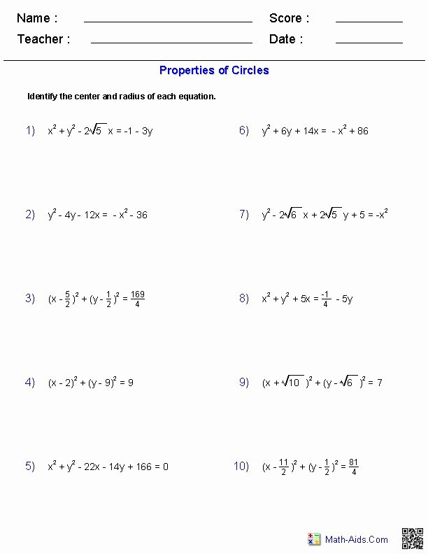 Equations Of Circles Worksheet Elegant 17 Images About Math Aids On Pinterest