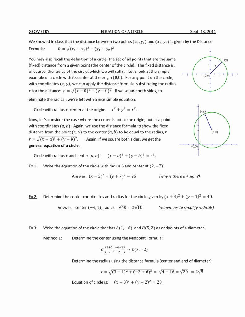 Equations Of Circles Worksheet Inspirational Circle Equations Worksheet